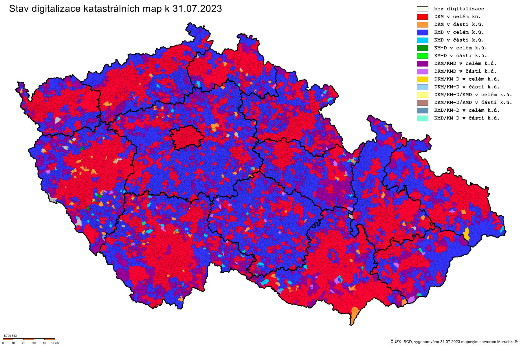 Postup digitalizace katastrálních map